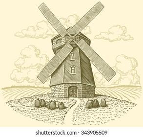 Mill. Hand drawn engraving. Vector vintage illustration. 8 EPS