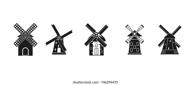Mill icon set. Simple set of mill vector icons for web design isolated on white background