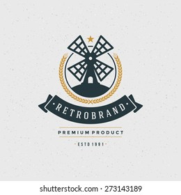 Mill Logo Design Element in Vintage Style for Logotype, Label, Badge and other design. Bakery Shop retro vector illustration.