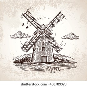 Mill in rural landscape, drawn by hand, in a graphic style.