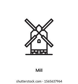 mill vector line icon. Simple element illustration. mill icon for your design. Can be used for web and mobile.
