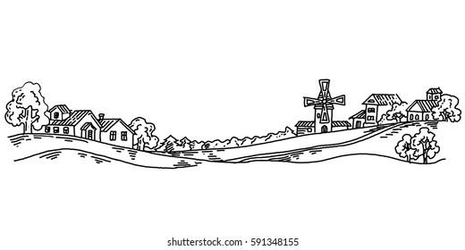 Mill Village, villa in the countryside, vector vintage hand drawn illustration