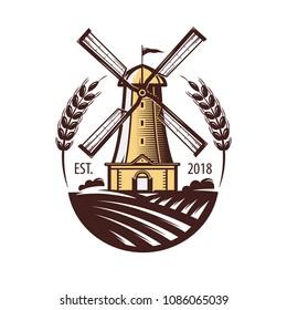 Mill, windmill, eat wheat, bread symbol. Bakery, bakehouse logo or label. Vintage vector illustration