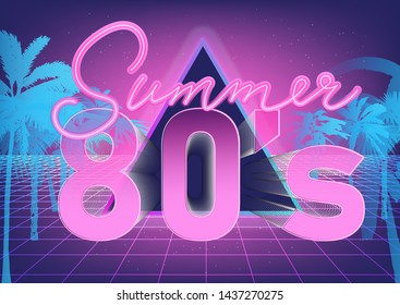 """Millennial Gen Y early 80s-90s Vaporwave/ Retrowave/ Synthwave retro style background. Retrofuturistic neon print with palm trees, perspective laser grid and ultraviolet lamp signboard """"Summer""""."""