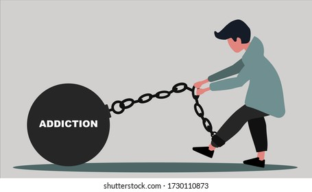 Millennial guy wearing ball and chain with word ADDICTION against grey background, vector illustration in flat style. Panorama