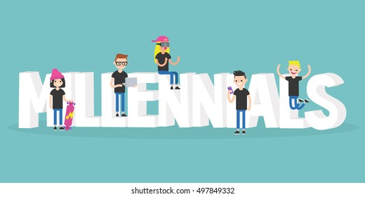 Millennial illustrated sign: young modern characters sitting and standing near the 3D letters / flat editable vector illustration