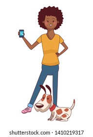 Millennial people cute pet dog owner smiling wearing yellow shirt using smartphone
