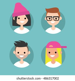 Millennial profile pics / Set of flat vector portraits