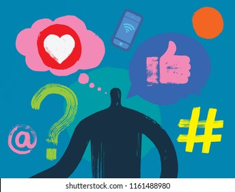 Millennial, Social Media Blogger, One Person, Social Media Symbols, Inspiration, Thinking Man, e-marketing, Thought Bubble, Instagram Follower, Facebook likes, digital marketing, concepts, hash tag