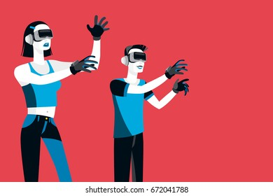 Millennial with Virtual Reality Devices. Male and female Millennial teenagers wearing Virtual Reality Glasses and gloves.