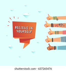 Millennials motivation believe in yourself concept. Friends thumbs up giving a lot of likes. Colorful vector illustration in flat design style