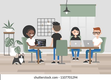 Millennials at work. Design bureau. Young people sitting and standing around long wooden table. Flat editable vector illustration, clip art