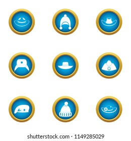 Millinery icons set. Flat set of 9 millinery vector icons for web isolated on white background
