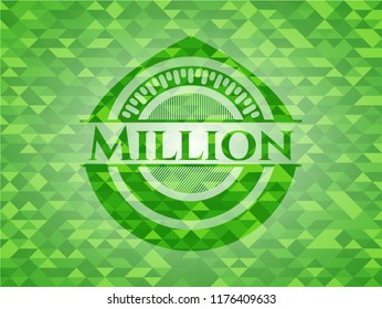 Million green emblem with triangle mosaic background