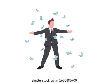 Millionaire flat color vector faceless character. Male winner enjoy cash prize. Person win jackpot in casino. Gambling entertainment player. Man in rain of falling money isolated cartoon illustration