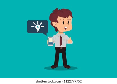 Millionaire idea. Businessman finds investment opportunity in entrepreneurship campaign from a mobile application. Finance and crowdfunding concept. Isolated flat design.