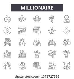 Millionaire line icons, signs set, vector. Millionaire outline concept, illustration: millionaire,money,rich,concept,business,isolated