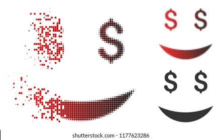 Millionaire smile icon in dispersed, pixelated halftone and undamaged entire versions. Points are grouped into vector dissolving millionaire smile icon.