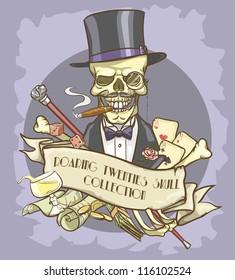 Millionaire's skull logo design - Roaring Twenties Skull Collection
