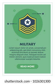 Millitary Concept Banner Illustration with Icon.