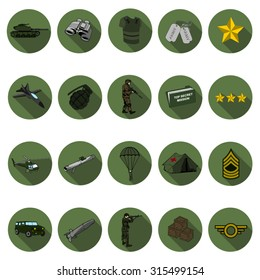 Millitary icons set in flat design with long shadow. Illustration EPS10