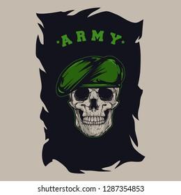 Millitary skull army vector