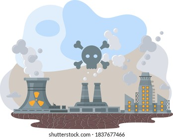 Mills and factories polluting environment. Industrial structures with pipes and smoke with gray clouds. Production piping pollute the atmosphere, dirty air, the reason for the environmental hazard