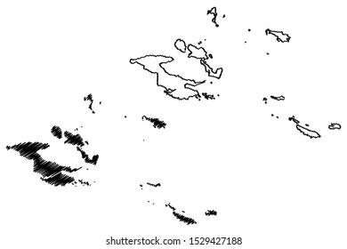 Milne Bay Province (Independent State Papua New Guinea) map vector illustration, scribble sketch D'Entrecasteaux Islands, Trobriand Islands, Woodlark, Louisiade Archipelago, Tagula, Misima map
