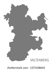 Miltenberg grey county map of Bavaria Germany