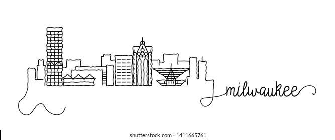 Milwaukee City Skyline Doodle Sign