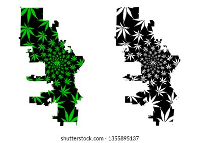 Milwaukee city (United States of America, USA, U.S., US, United States cities, usa city)- map is designed cannabis leaf green, City of Milwaukee map made of marijuana (marihuana,THC) foliage,