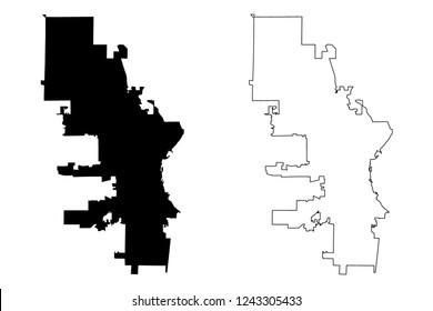 Milwaukee City (United States cities, United States of America, usa city) map vector illustration, scribble sketch City of Milwaukee map