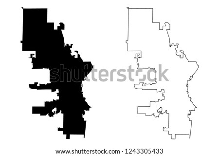 Milwaukee City United States Cities United Stock Vector (Royalty ...