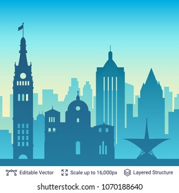 Milwaukee famous city scape. Flat well known silhouettes. Vector illustration easy to edit for flyers, posters or book covers.