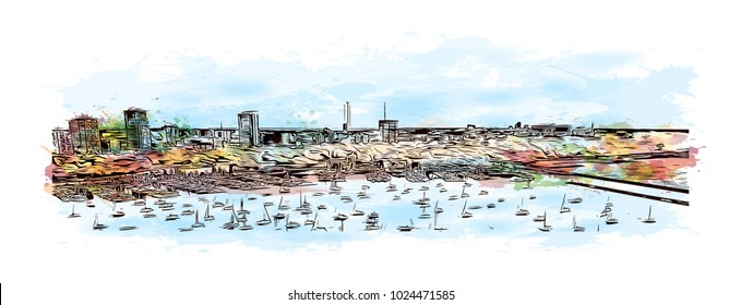 The Milwaukee lakefront skyline in Wisconsin, USA. Watercolor splash with Hand drawn sketch illustration in vector.