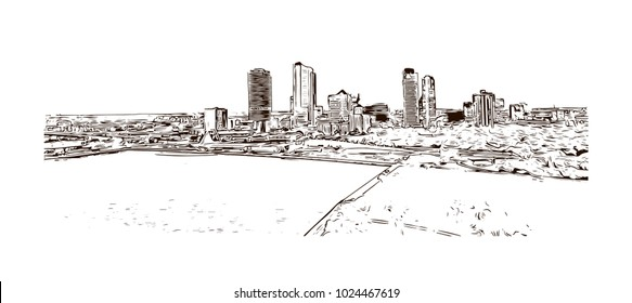 The Milwaukee lakefront in Wisconsin, USA. Hand drawn sketch illustration in vector.