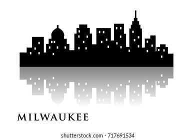 milwaukee skyline city  logo vector