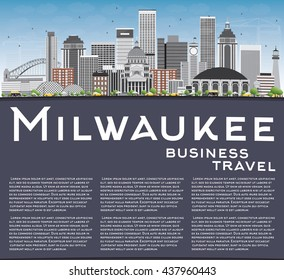 Milwaukee Skyline with Gray Buildings, Blue Sky and Copy Space. Vector Illustration. Business Travel and Tourism Concept with Modern Buildings. Image for Presentation Banner Placard and Web Site.