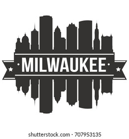 Milwaukee Skyline Silhouette City Vector Design Art