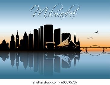 Milwaukee skyline - Wisconsin - vector illustration