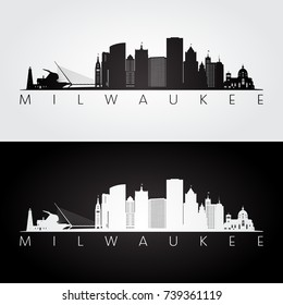 Milwaukee usa skyline and landmarks silhouette, black and white design, vector illustration.
