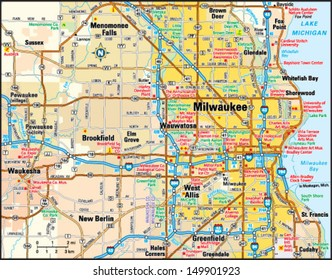 Milwaukee, Wisconsin area map