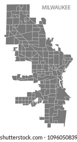 Milwaukee Wisconsin city map with neighborhoods grey illustration silhouette shape