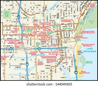 Milwaukee, Wisconsin downtown map