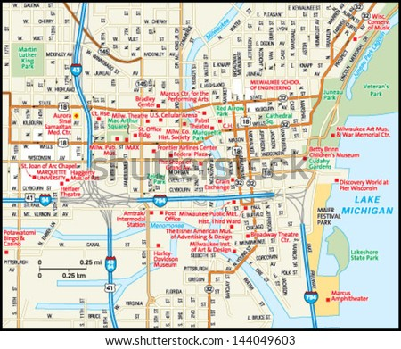 Milwaukee Wisconsin Downtown Map Stock Vector (Royalty Free ...