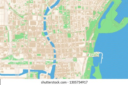 Milwaukee Wisconsin printable map excerpt. This vector streetmap of downtown Milwaukee is made for infographic and print projects.