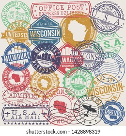 Milwaukee Wisconsin. Set of Stamps. Travel Stamp. Made In Product. Design Seals Old Style Insignia.