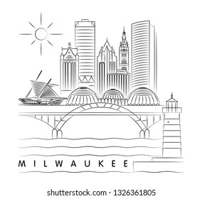 Milwaukee, Wisconsin skyline vector illustration and typography design