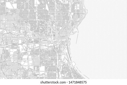 Milwaukee, Wisconsin, USA, bright outlined vector map with bigger and minor roads and steets created for infographic backgrounds.