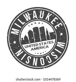 Milwaukee Wisconsin USA Stamp Logo Icon Skyline Silhouette Symbol Round Design Skyline City